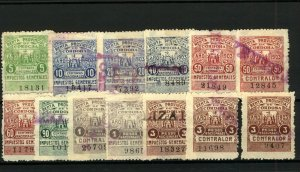 Cordoba 1903 Range of Impuestra Generales Revenues 5c to 3pesos (13v) FU