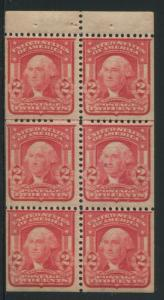 1903 US Stamp #319g 2c Mint Never Hinged F/VF Booklet Pane of 6 Type I