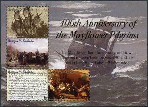 Antigua & Barbuda Ships Stamps 2021 MNH Mayflower Pilgrims 400th Anniv 4v M/S
