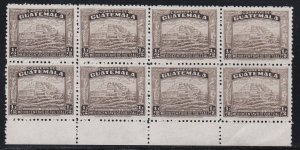 Guatemala Revenue Stamp, Block of Eight, NH