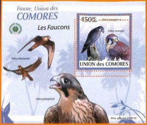 A5586 - COMOROS - ERROR, 2009, MISPERF SOUVENIR SHEET: Birds, Falcons