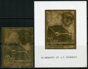 AJMAN  GOLD FOIL 10r STAMP & S/S  JOHN F. KENNEDY MEMORAIL  MINT  NH