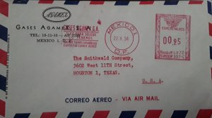 V) 1954 MEXICO, METER STAMP, AIR MAIL, FROM MEXICO TO TEXAS