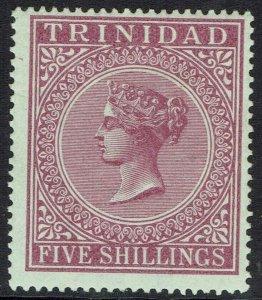 TRINIDAD 1883 QV 5/- WMK CROWN CC PERF 14