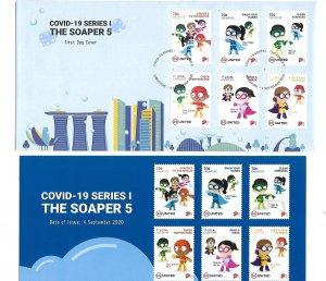 Singapore 2020 Covid-19 series 1 The Soaper 5 FDC MNH Bo22