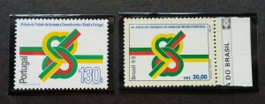 Portugal Brazil Joint Issue 40th Anniv  Friendship Treaty 1993 (stamp pair) MNH