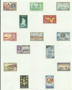 Tonga 1953 Set of 14, Hinged on page Sg 101-114, M/M {C/P-13}