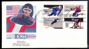 UNITED STATES FDC 15¢ Winter Olympics block 1980 Fleetwood
