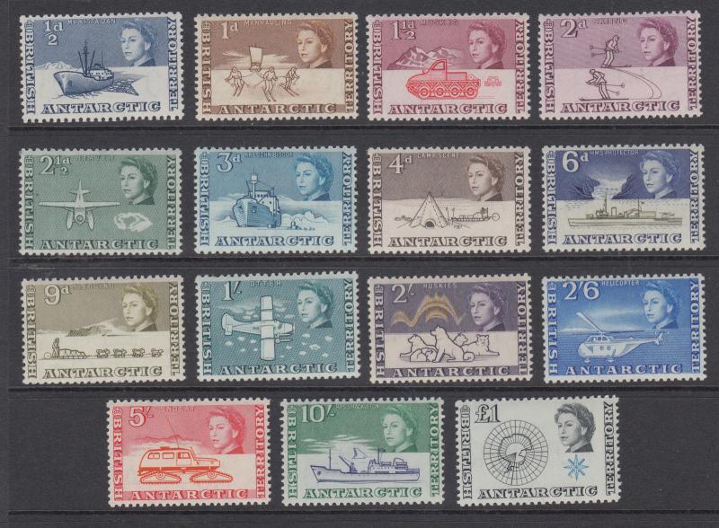 British Antarctic Territory Sc 1-15 MNH. 1963 Arctic Views definitives cplt