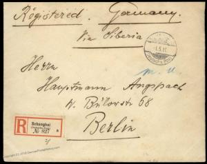 Germany 1911 China SCHANGHAI Shanghai Registered Cover Russia Bank 84799