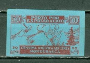HONDURAS 1927 SCARCE CENTRAL AMERICA AIR LINES SEMI-OFICIAL VIGNETTE NO GUM