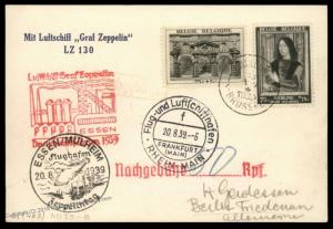 Belgium 1939 Zeppelin Germany Si463 Deutschlandfahrt LZ130 Flight Flown Co 90722