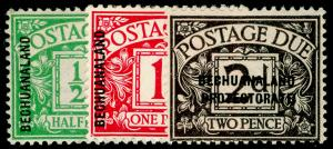 BECHUANALAND SGD1-D3, 1926 POSTAGE DUE SET,  LH MINT. Cat £40.