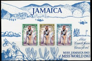 JAMAICA QEII SG MS216a, Miss Jamaica 1963 mini sheet, NH MINT.