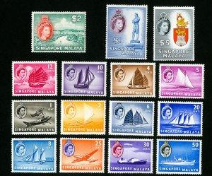 Singapore Stamps # 28-42 VF OG LH Catalog Value $146.40