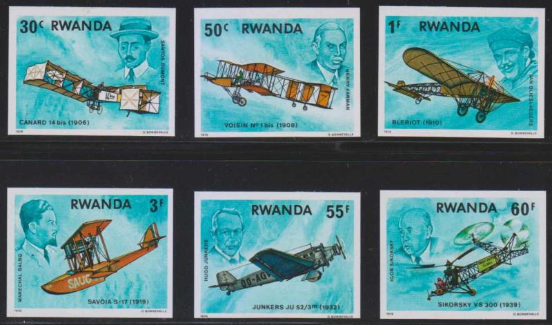 RWANDA 1978 WRIGHT BROTHERS FLYER Sc 886-889 & 891-892 TOP VALUES IMPERF MNH VF