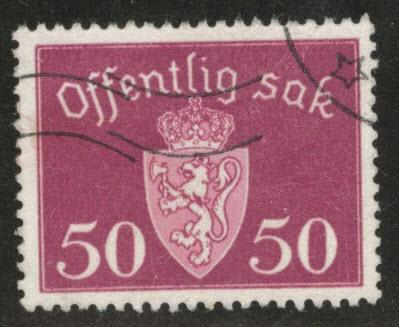 Norway Scott o55 used Unwmk official 1947