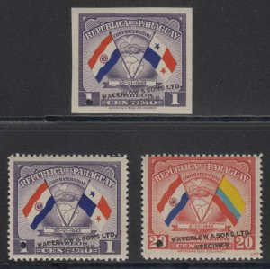 "PARAGUAY 1945 FLAGS Sc 415 & C147 THREE PERF & IMPERF PROOFS + ""SPECIMEN"" MNH"