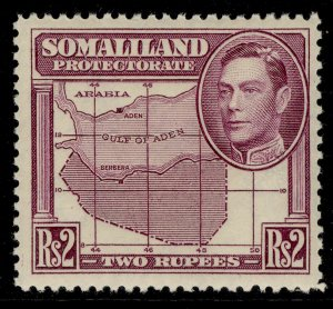 SOMALILAND PROTECTORATE GVI SG102, 2r purple, M MINT. Cat £26.
