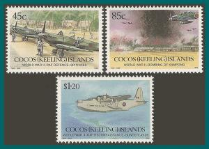 Cocos 1992 World War II, MNH #264-266,SG270-SG272