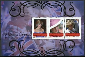 Bequia Gren St Vincent Royalty Stamps 2012 MNH Princess Diana Memorial 3v M/S