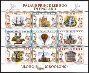 Palau 1989 MNH Sc 235 Sheetlet of 9 25c Palau's Prince Lee Boo in England