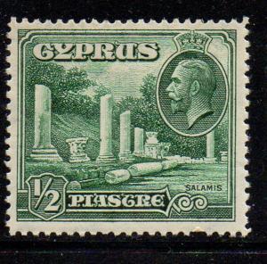 Cyprus Sc 126 1934 1/2 pi G V & Salamis stamp mint