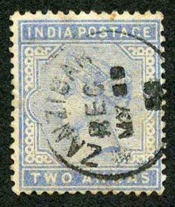 Zanzibar SGZ85 1882-90 India 2a Blue May 93 with CDS (type Z6) Used