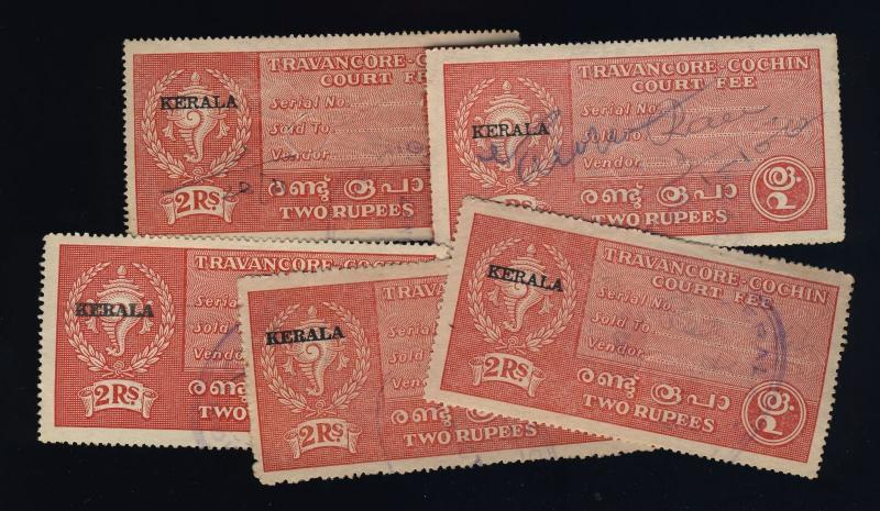 INDIA - TRAVANCORE-COCHIN Revenue Stamp +KERALA O/P R.2 Red x5 used examples
