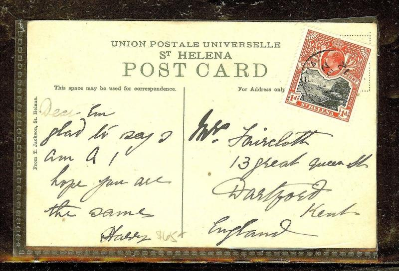 ST HELENA (P0210B) KE 1D ON 1912 PPC  TO KENT ENGLAND