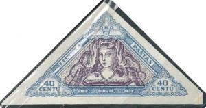 Lithuania C67 (mh, imperf.) 40c Birutė, lt ultra & lilac (1933)