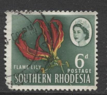 Southern Rhodesia- Scott 100 - QEII Definitives -1964 - Used- Single 6d Stamp