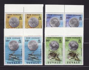 Tuvalu 19-22 Pairs Set MNH Marine Life, Coins on Stamps (B)