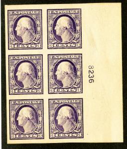 US Stamps # 483 Superb OG NH Wide Gem PB of 6 Scott Value $200.00