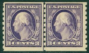 USA : 1911. Scott #394 Beautiful PO Fresh Mint OG Line pair. PSAG Cert. Cat $425