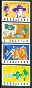 GIBRALTAR 1968 Gibraltar Scouts Anniversary Set Sc 209-212 MNH