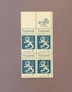 1334, Finland Independence, Block of 4 w/Mr. Zip, Mint OGNH, CV $1.20