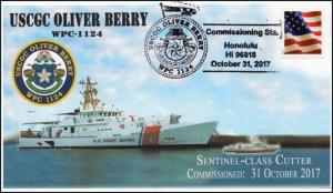 17-357, 2017, USCGC Oliver Berry, WPC-1124, Pictorial, Event Cover, Commissionin