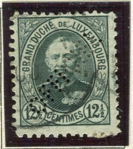 LUXEMBOURG; 1899 early Adolf OFFICIAL PERFIN issue fine used 12.5c.