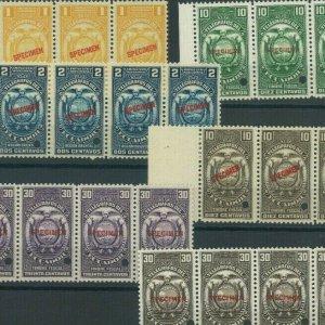 ECUADOR TELEGRAPH Stamps ABNCo. *SPECIMEN* 1c-30c Group {23} Strips UM MNH MF107