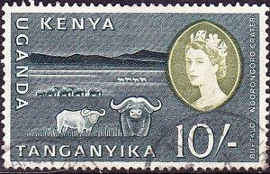 KENYA UGANDA TANGANYIKA 1960 QEII 10/- Blackish Green & Olive-Green SG197 FU