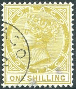 TOBAGO-1894 1/- Olive-Yellow Sg 24 GOOD USED V31462