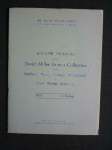 SOUVENIR CATALOGUE OF THE DAVID MILLER BROWN COLLECTION by POSTAL HISTORY SOC
