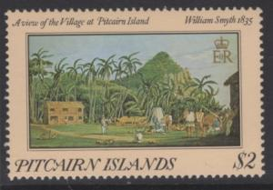 PITCAIRN ISLANDS SG267var 1985 $2 PAINTINGS INSCRIBED 1835 MNH