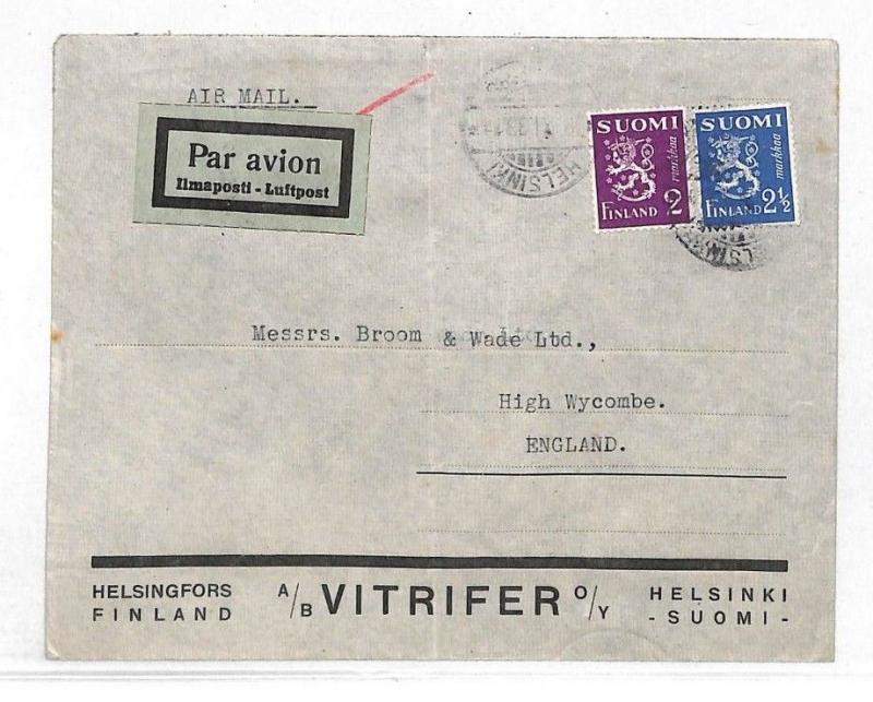K193 1933 FINLAND Helsinki Airmail VITRIFER Advert Cover High Wycombe