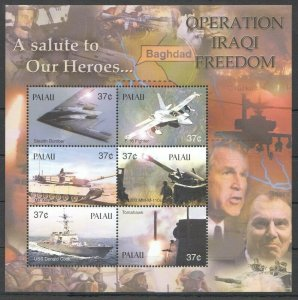 PK372 PALAU MILITARY & WAR TRANSPORTA SALUTE TO OUR HEROES 1KB MNH STAMPS