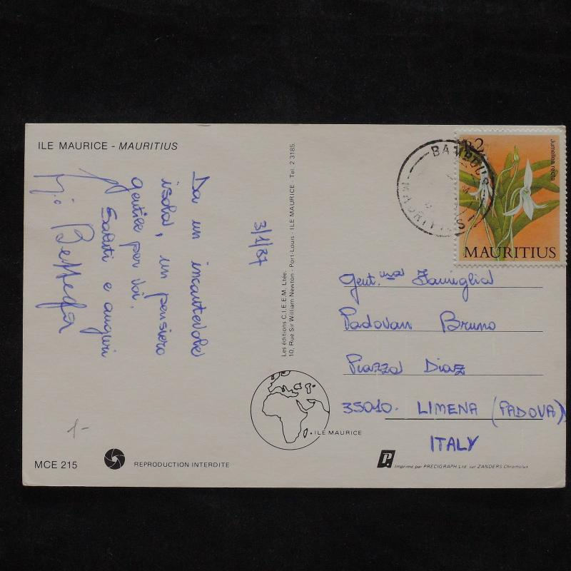 ZS-X254 MAURITIUS - Flowers, 1987, Great Franking To Italy Postcard