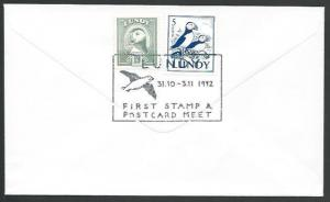 GB LUNDY 1992 cover - stamp and postcard meet cancel.......................10697