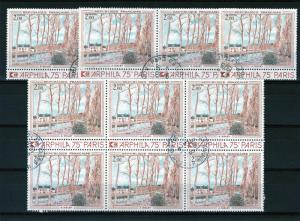 France 1974 Sc#1396 Canal du Loing by Sisley 10 Stamps Used