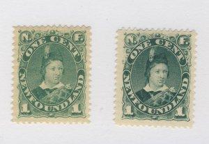 2x Newfoundland POW MHR VF stamps #44-1c #45-1c Guide Value = $100.00